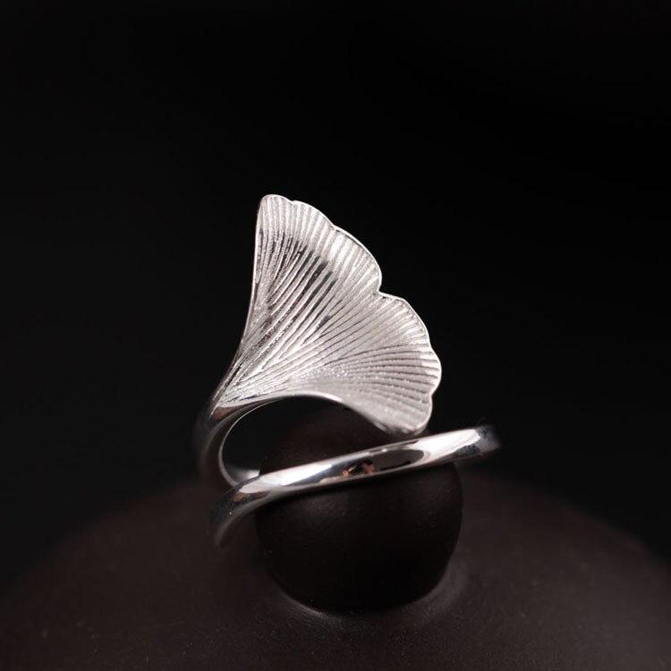 Flyleaf 925 Sterling-silber-schmuck Ginkgo Blätter Ringe Für Frauen Hohe Qualität Mode Dame Zubehör Bague Femme