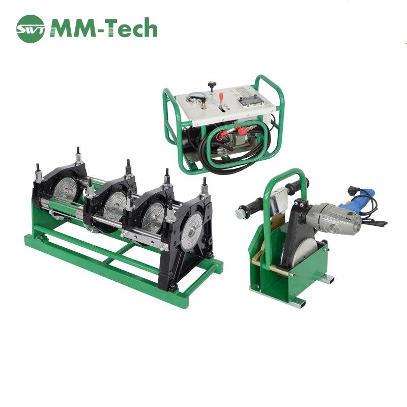 معدات لحام انصهار أنابيب البولي إيثيلين عالي الكثافة SWT-B160/50H, آلة لحام انصهار أنابيب البلاستيك الحراري