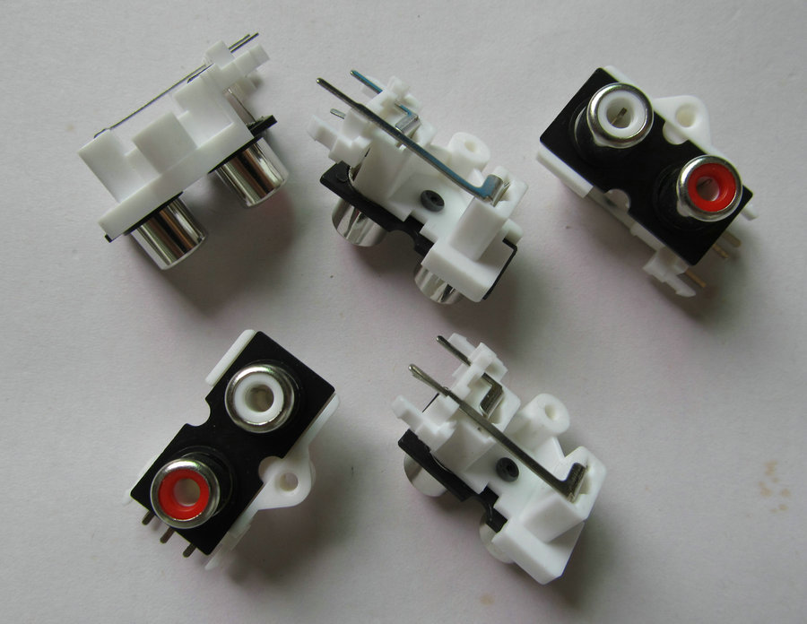 20 pcs de Alta qualidade RCA saída 2 way/pinos Fêmea 2 cores 2 p Áudio Jack AV áudio Conector do Soquete plug. Número de rastreamento