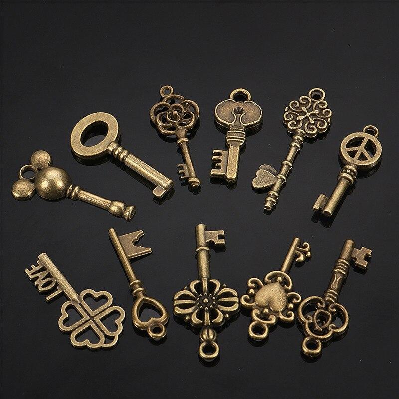 11 Uds antiguo Vintage aspecto antiguo bronce esqueleto llave de lujo corazón arco colgante decoración DIY collar joyería artesanía