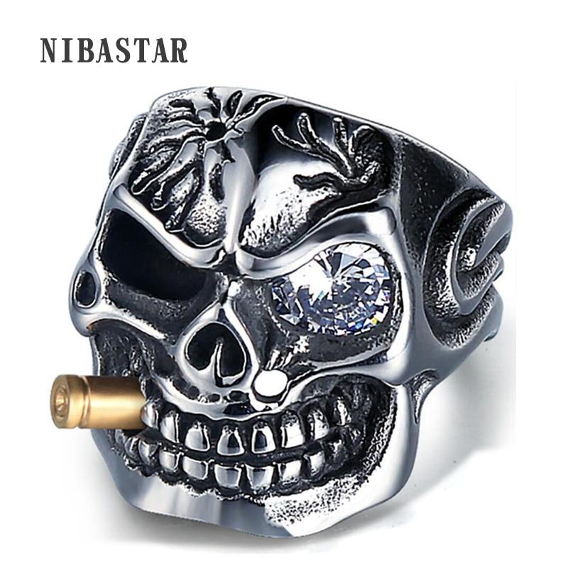 Anillos de esqueleto Punk de estilo pirata con calavera para hombre, de acero inoxidable con cristal, accesorios Retro para adornos para joyas para hombre