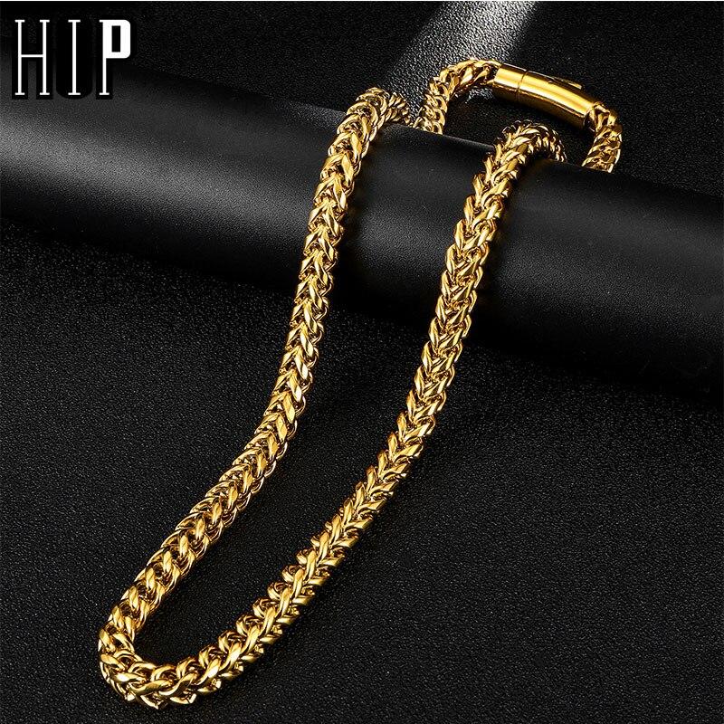 HIP Hop ancho 8MM Acero inoxidable oro cadena collar 316L Acero inoxidable collar retorcido para hombres joyería Dropshipping