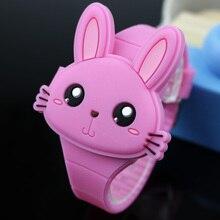 Lovely Rabbit Cartoon Children Watches Flip Cover Rubber Electronic Kids Watch for Boy Student Girls