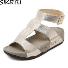 SIKETU Women Gladiator Sandals Flat Platform Wedge Heel Open Toe Ankle Strap Roman Strappy Sandals Slingback Summer Casual Shoes