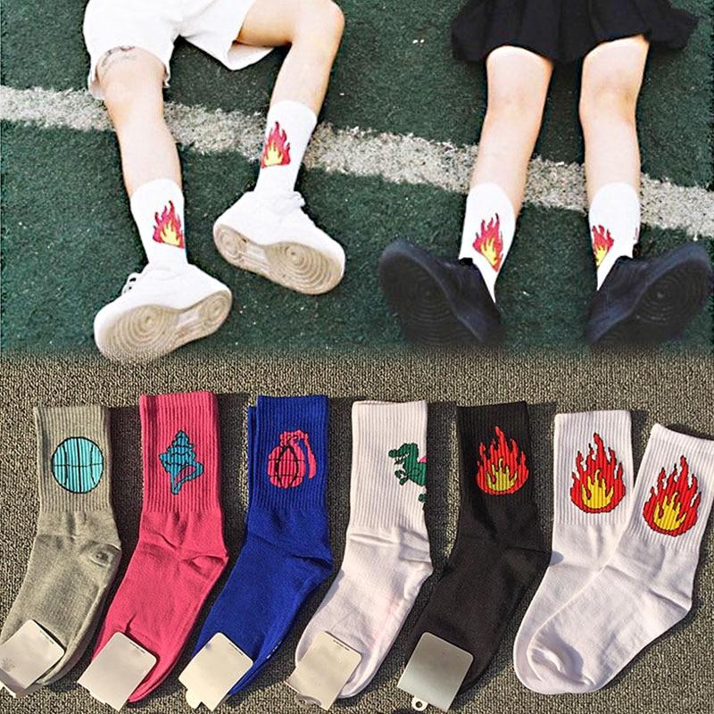 Распродажа, 1 пара хлопковых носков с 9 узорами для мужчин и женщин, хлопковые носки с забавным динозавром, Бейсбольным пистолетом, пожарным ...