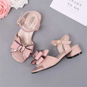 High quality girls sandals 2019 summer new children's fashion bow princess shoes high heels party dance shoes girls sandals
