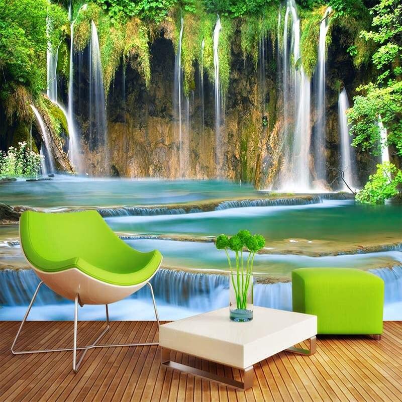 Papel pintado Mural personalizado 3D paisaje de cascada Fondo papel pintado fotográfico pared Pintura Sala pared del dormitorio decoración del hogar
