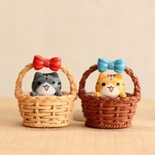 1 Piece Small Cute Soft Toy Decor Ornament Stress Reliever Cartoon Simulation Micro Landscape Basket Cat Shaped