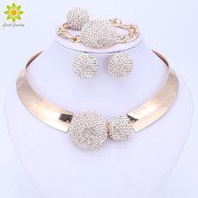 Ensembles de bijoux pour femmes couleur or fête de mariage accessoires de mariée collier boucles doreilles ensemble de mode cristal pendentif Costume
