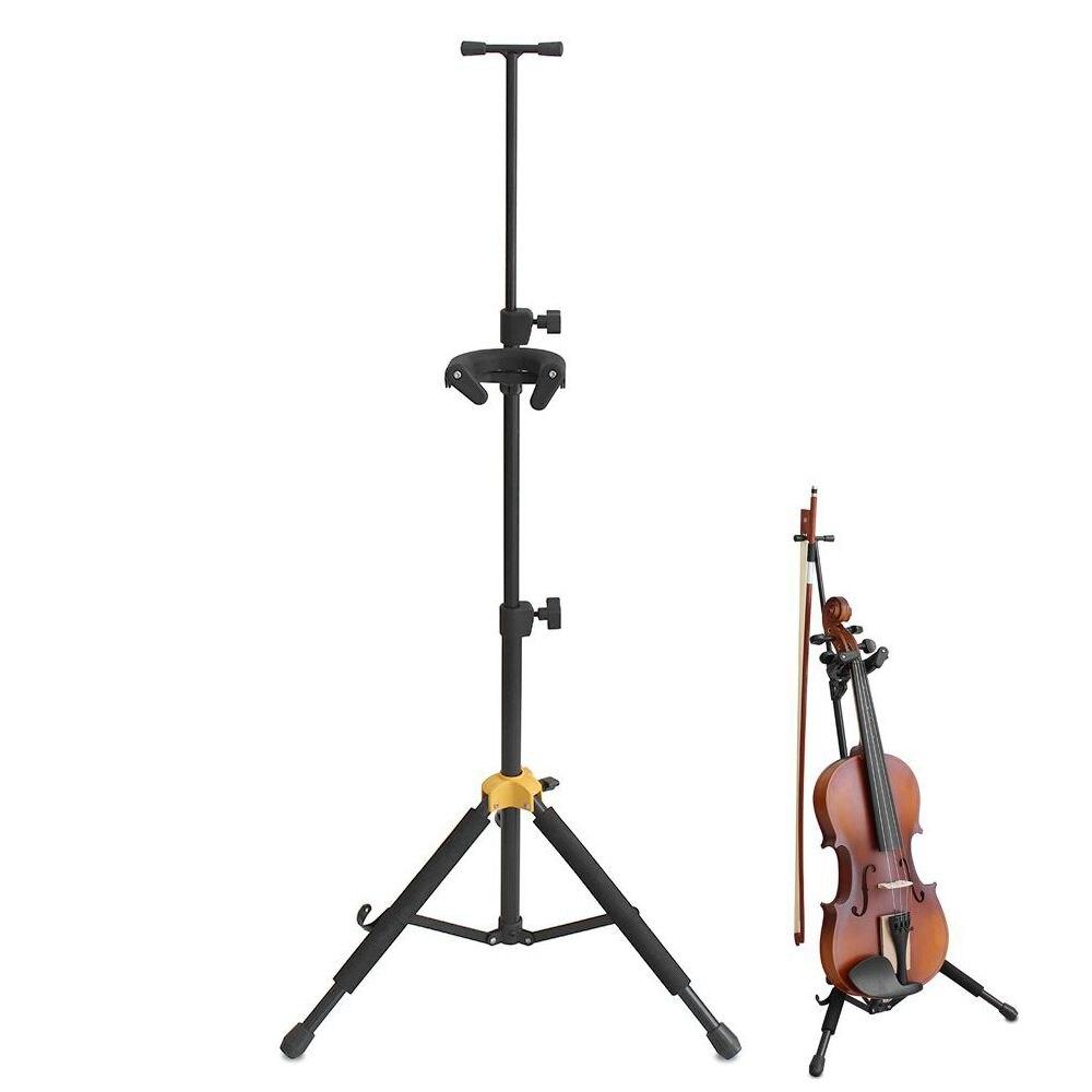 Portable Aluminum Alloy Folding Floor Violin Ukulele Stand with Stable Tripod Holder