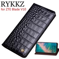 rykkz genuine leather flip case for zte blade v10 cover magnetic case for blade v10 axon 10 pro cases leather cover phone