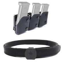 Ipsc uspsa idpa 경쟁 고속 촬영 액세서리 1x 벨트 및 3x fast draw 권총 매거진 파우치 mag carrier holster