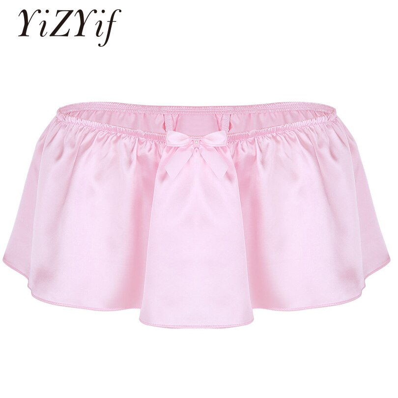 YiZYiF Calzoncillos Bóxer Sissy para hombre, ropa interior Sissy Skirt Gay suave brillante, Culotte Homme, Boxer de satén, bragas, lencería Sexy para hombres, falda