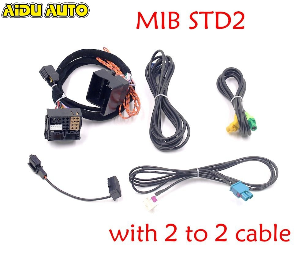 MIB STD2 ZR NAV Discover Pro adaptador de Radio Cable Arnés con 2 a 2 cables para Golf 7 MK7 Passat B8 Tiguan MQB Coche