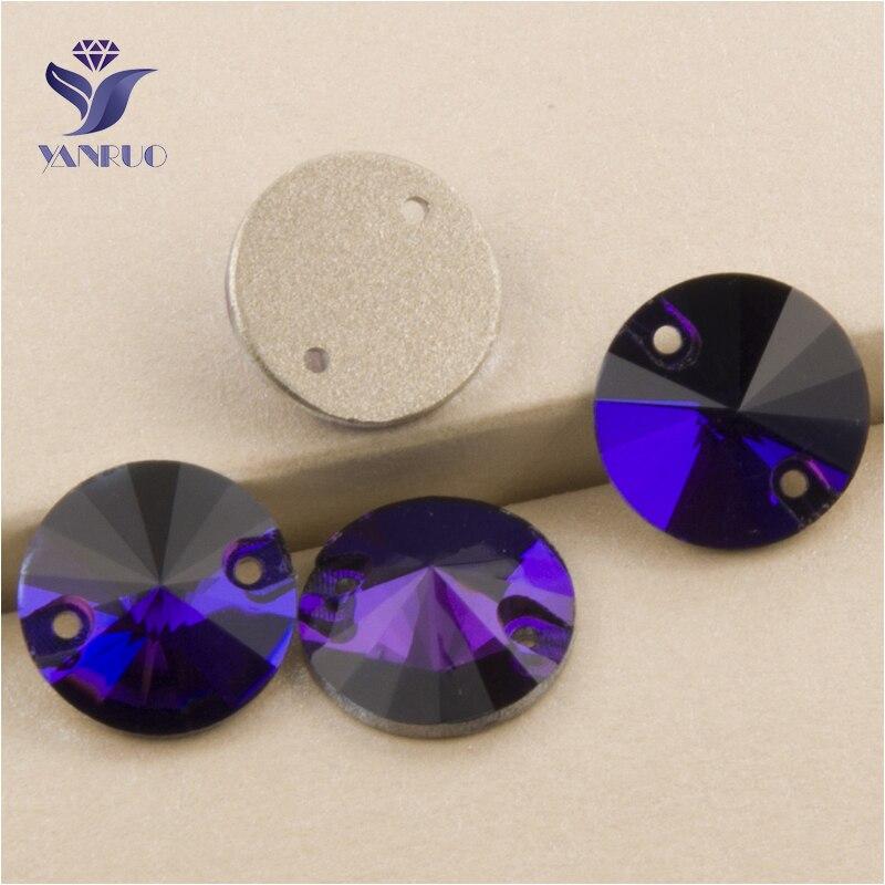YANRUO 3200 todos los tamaños terciopelo púrpura Rivoli coser en cristal de strass Rhinestone Craft Crystal Glitter Gems Flatback