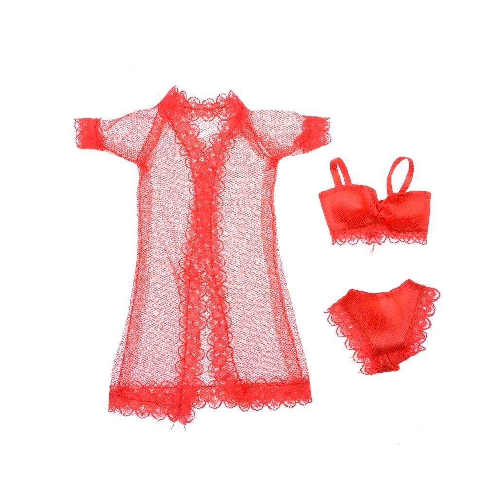 Nice boneca pijamas lingerie roupa de noite rendas vestido + sutiã roupa interior roupas de moda para boneca atacado 3 pçs/set