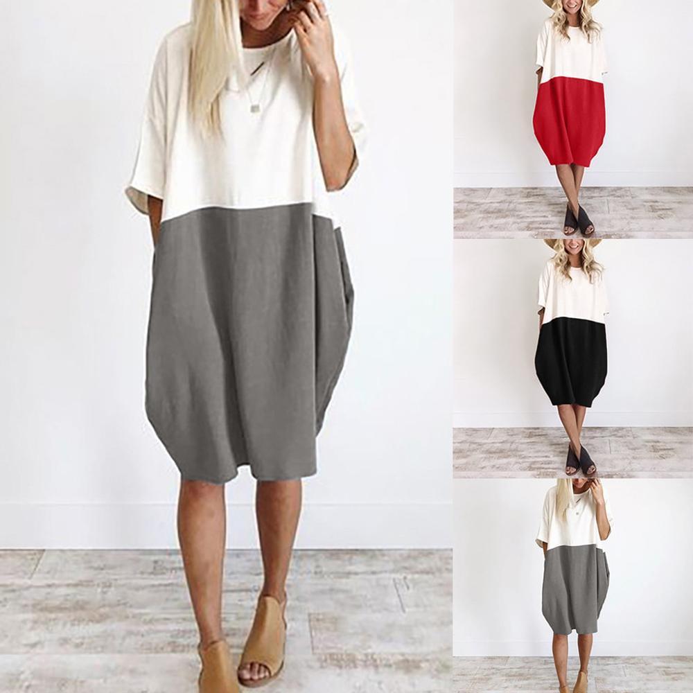 Vestido hasta la rodilla de mujer Casual suelto de lino Patchwork media manga sólido vestido de bolsillo de botón
