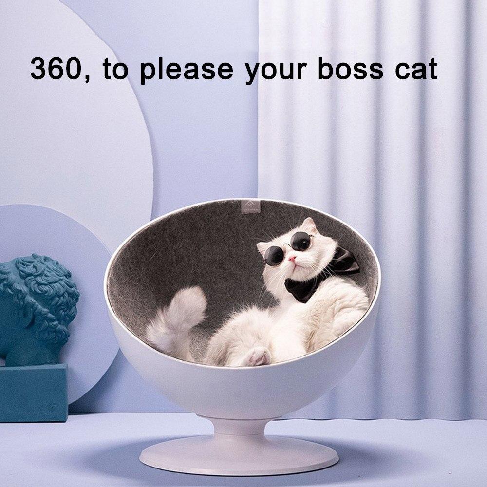 Camas para mascotas y gatos, nido blanco, cama rotativa interactiva minimalista, perro cachorro, cueva, saco de dormir, gato, productos para cama de Mascota