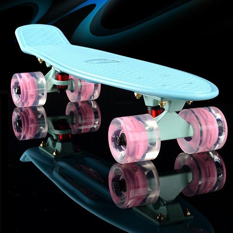 De plástico nueva patineta mini Cruiser pequeño skate solo banana longboard niños adultos se retorcido camino skate board