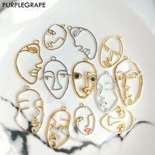 PURPLEGRAPE minimalista metal personalidad exagerada Contorno de cara pendientes colgante accesorios DIY hecho a mano 6 uds