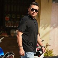 Camiseta Polo de manga corta informal suelta de color negro puro de verano 2019 para hombre, camiseta de manga corta, Top 1-6XL