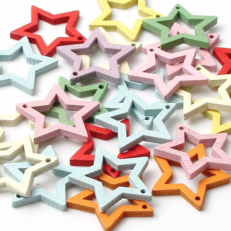 DIY деревянный цветной кулон в форме звезды, самодельное креативное ювелирное ожерелье, браслет, украшение, аксессуары, оптовая продажа 30/шт