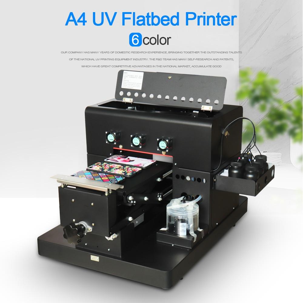 Impresora de LED UV tamaño A4 de 6 colores para funda de teléfono de cuero/placa de PVC/placa acrílica/placa de madera/Metal de alta calidad