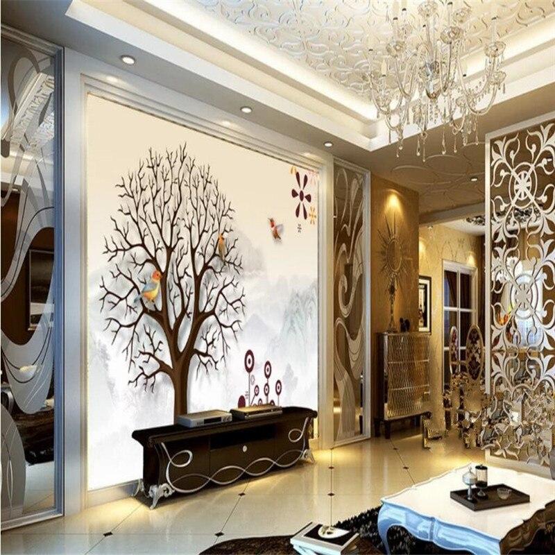 بسيطة شجرة كبيرة غرفة المعيشة التلفزيون حائط الخلفية المهنية إنتاج جدارية خلفية مخصصة المشارك الصورة جدار