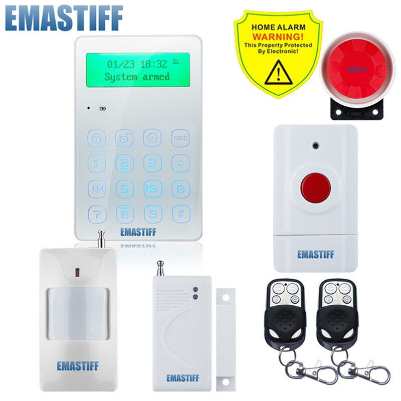 GSM Wireless Home Business Burglar Security Alarm System APP Control Siren Motion Detector PIR Smoke Sensor