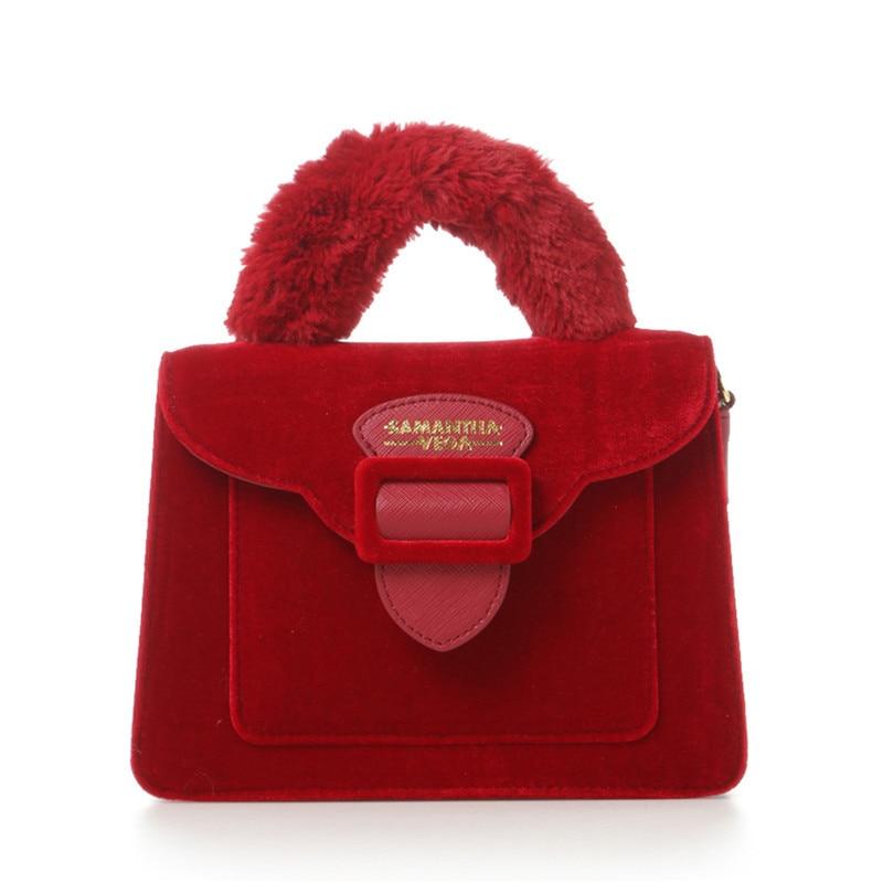 2019 Christmas limited velvet suede handbag Samantha Vega plush handle organ shoulder bag Retro small flap square Messenger bag