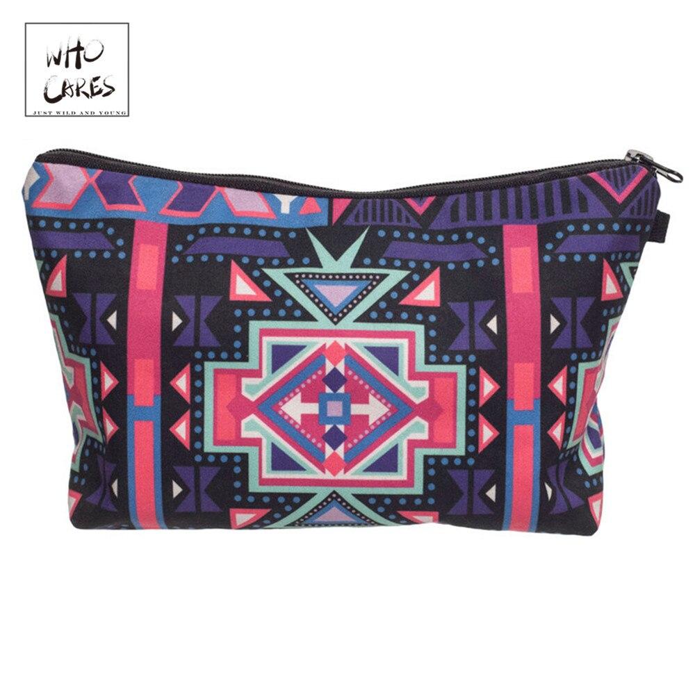 Bolsas de maquillaje de moda Who Cares, bolsas de cosméticos con estampado azteca 3D para viaje, bolsa de cosméticos para mujer