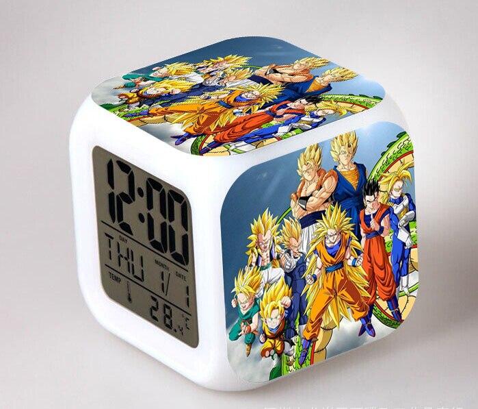 Anime Dragon Ball Z Son Goku Action Figure Despertador LED Saat Night Light Digital Clock Collectible Model Kids Toys