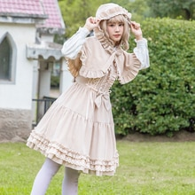 2019 Autumn Winter New Lolita Padded Dress Girl Cute Slim Retro Gothic Style Warm Corduroy Dress