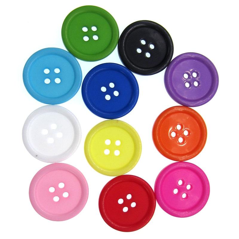 """50 Uds. Botones de resina con agujeros mezclados de 1 """", accesorios de costura artesanal para Scrapbooking, botones grandes de 25mm"""