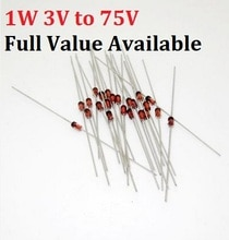 50PCS 1W Zener diode 1N/IN4727A 3 V/IN4728A 3,3 V/IN4729A/3,6 V IN4730A/3,9 V IN4731A/4,3 V IN4732A/4,7 V IN4733A/5,1 V IN4734A/5,6 V