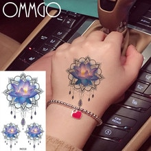 OMMGO Lotus henné Mehndi fleur tatouage temporaire autocollant Pendant chaînes personnalisé Tato Art corporel bras poignet faux Tatoo aquarelle