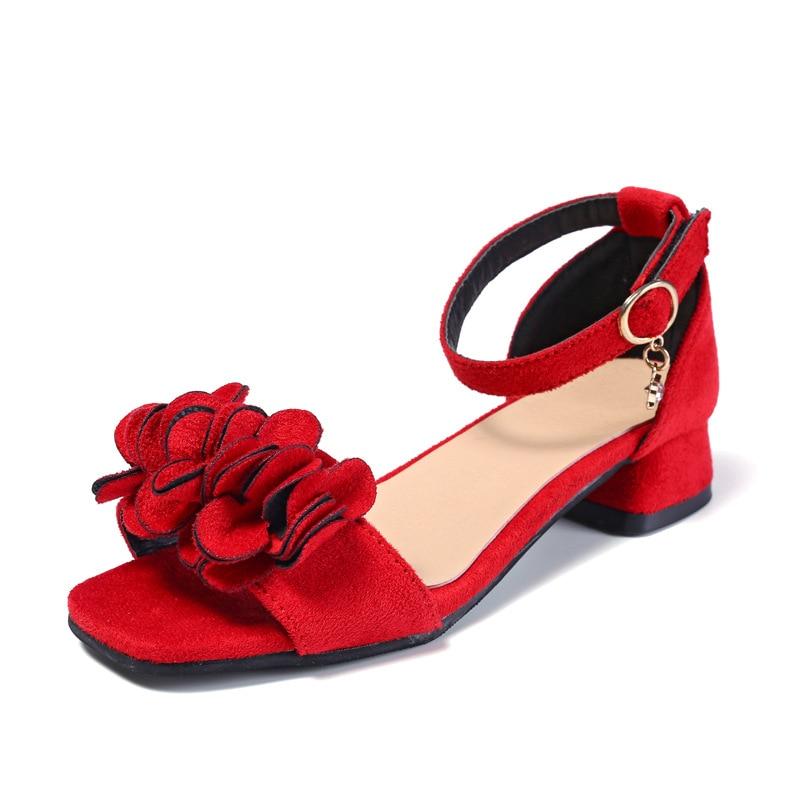 Flowers Girls Sandals 2019 Beach Children'S Shoes Princess Kids Sandals Summer Shoes Girl High Heels 4 5 7 8 9 10 11 12 Year Old