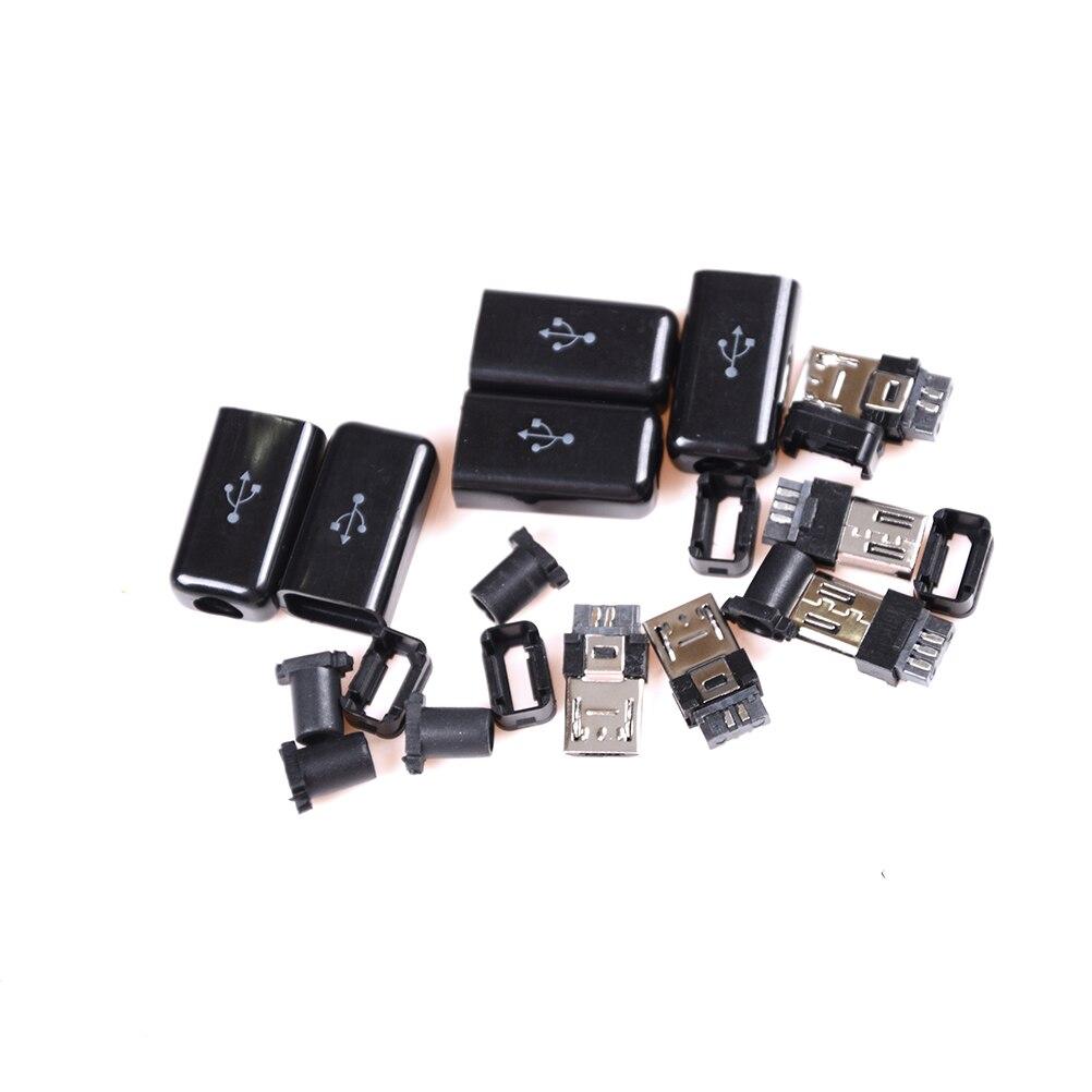 5 uds DIY negro Micro USB 5 Pin macho enchufe conector y cubierta de plástico soldadura Micro montaje reemplazo conector Cable