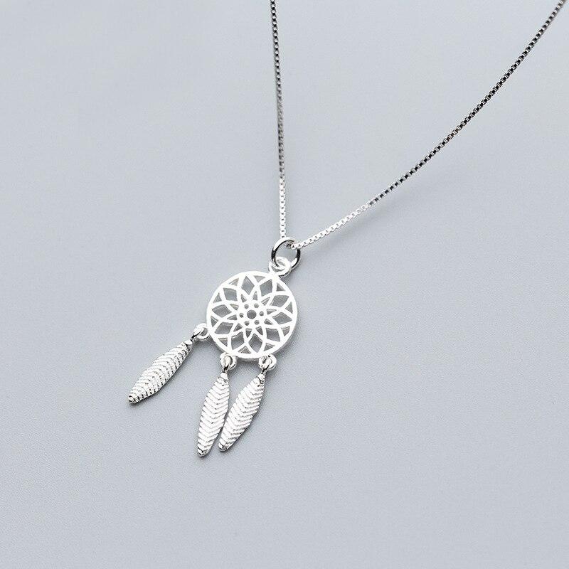 MloveAcc 100% de Plata de Ley 925 sueño Catcher dije de atrapa sueños Collar para mujeres, joyería de plata esterlina
