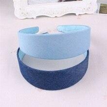 Neue frauen Kopfschmuck, Feste Farbe Denim Dunkelblau Licht Blau Stirnband, Einfache Hairands Für Student Mädchen A269