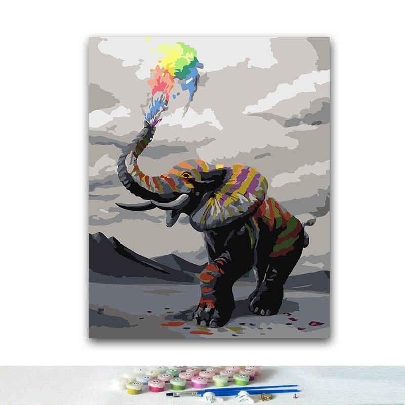 Pintura para colorir diy por números pinturas coloridas elefante por números com kits 40x50 emoldurado
