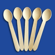 100pcs/lot 16cm Wedding Party Disposable Wooden Spoon Wooden Soup Spoon