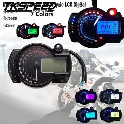 Voyant numérique LCD pour moto   Livraison gratuite 15000rpm moderne, lumière numérique, tachymètre, odomètre réglable 7 couleurs