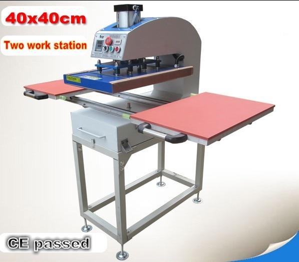 آلة طباعة تي شيرت بمحطة عمل تعمل بالهواء المضغوط ، آلة ضغط حراري بالتسامي ، حجم كبير 40x40 سنتيمتر