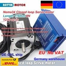 EU Free VAT Nema34 8N.m Closed Loop Servo motor L-116mm Stepper Motor 6A & HSS86 Hybrid Step-servo Driver 8A CNC Controller Kit