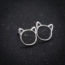 Shuangshuo Ethnic Earrings 2017 Cat Head Stud Earrings for Women Fashion Earrings Animal Jewelry Ear