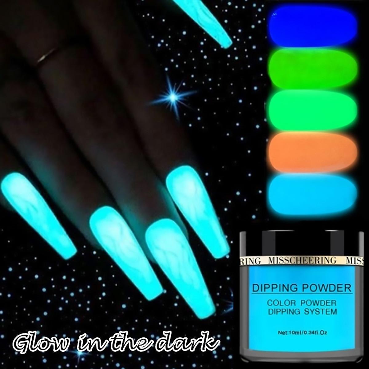 Pó de glitter para unhas neon, 10 cores, pigmento luminoso, fluorescente, brilha nas unhas, 1 caixa escuro