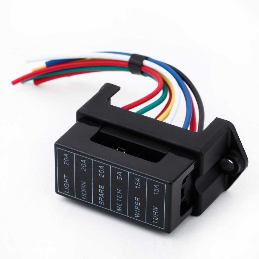 6 forma DC32V de remolque de coche hoja Auto caja de fusibles de titular ATC ATO 2-entrada 6-ouput de alambre
