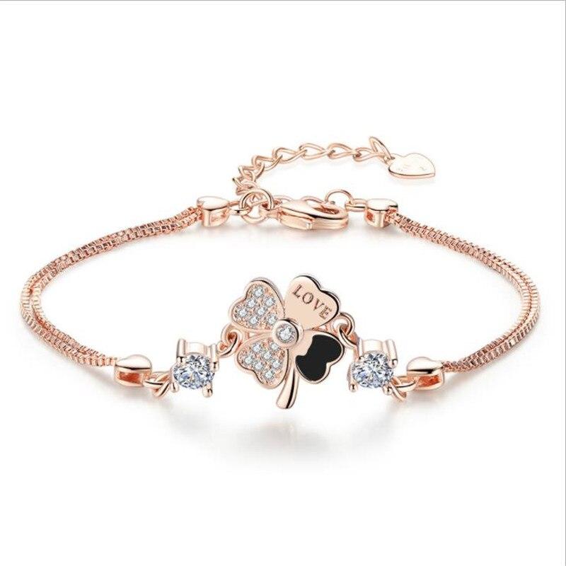 TJP Latest Crystal Clover Rose Gold Bracelets Jewelry Girl Fashion Zircon Silver Bracelets For Women Wedding Party Accessories