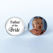 1 paire de boutons de manchette Photo personnalisée père de la mariée-cadeaux plaqués argent pour papa-boutons de manchette mariage-boutons de manchette personnalisés